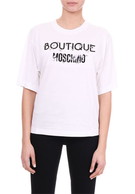 T-SHIRT IN COTONE CON PIERCING BOUTIQUE MOSCHINO | T-shirt | 12081144A1002