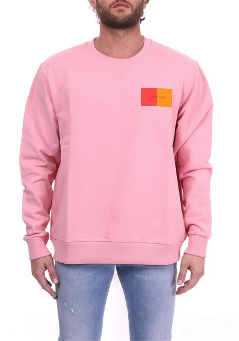 PINK COTTON SWEATSHIRT WITH BICOLOR LOGO CALVIN KLEIN | Sweatshirts | K10K102974665ROSA
