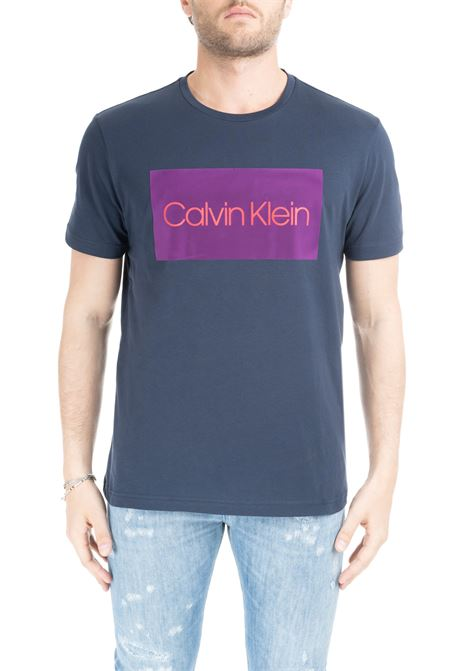 BLUE T-SHIRT WITH FLOCKED LETTERING LOGO CALVIN KLEIN | T-shirt | K10K103012484BLU