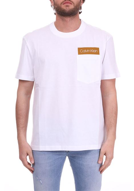 WHITE COTTON T-SHIRT WITH LOGO AND POCKET CALVIN KLEIN | T-shirt | K10K103015105BIANCO