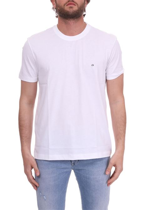 WHITE CREWNECK T-SHIRT WITH CONTRASTED MINI LOGO CALVIN KLEIN | T-shirt | K10K103076105BIANCO
