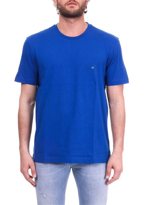 BLUE BASIC T-SHIRT WITH MINI CONTRAST LOGO CALVIN KLEIN | T-shirt | K10K103076485COBALTO