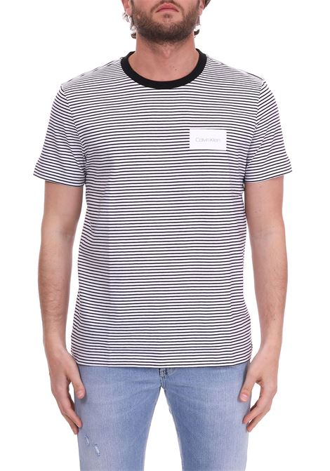 STRIPED T-SHIRT - WHITE LOGO CALVIN KLEIN | T-shirt | K10K103360013FANTASIA