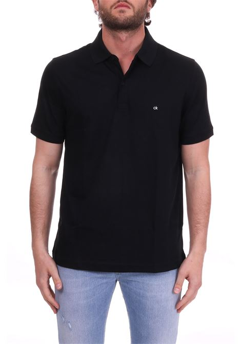 SLIM POLO IN BLACK COTTON MINI LOGO CALVIN KLEIN | Polo Shirts | K10K103378013NERO