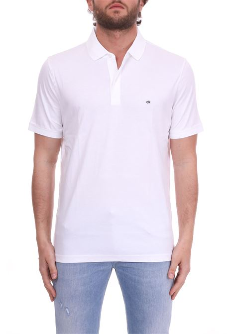 SLIM POLO IN WHITE COTTON MINI LOGO CALVIN KLEIN | Polo Shirts | K10K103378105BIANCO