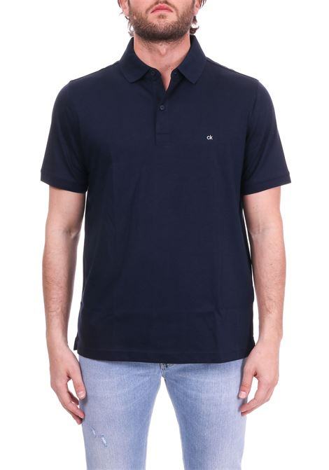 POLO SLIM IN BLUE COTTON MINI LOGO CALVIN KLEIN | Polo Shirts | K10K103378484BLU