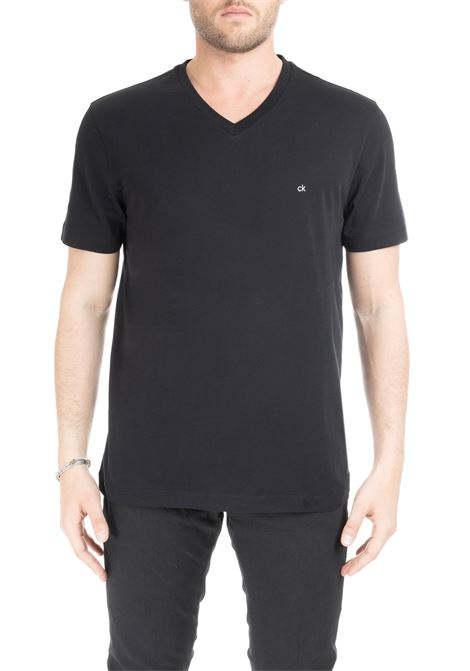 BLACK BASIC T-SHIRT WITH MINI LOGO