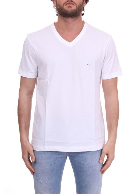 WHITE BASIC T-SHIRT WITH MINI LOGO CALVIN KLEIN | T-shirt | K10K103672105BIANCO