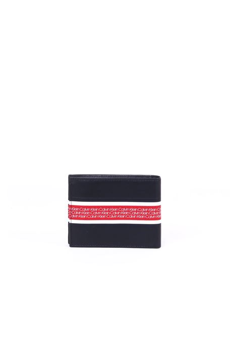 BLACK LEATHER WALLET WITH LOGO BAND CALVIN KLEIN | Wallets | K50K504251001NERO