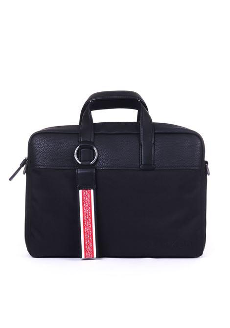 BLACK LAPTOP BAG WITH LOGO PLATE CALVIN KLEIN | Bag | K50K504284001NERO