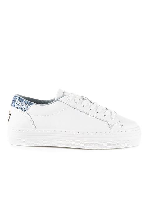 LOGOMANIA LEATHER SNEAKERS WITH BLUE GLITTER CHIARA FERRAGNI | Sneakers | CF2321BIANCO