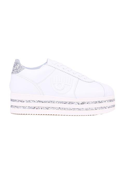 SNEAKERS LOGOMANIA PLATFORM 50MM CON GLITTER CHIARA FERRAGNI | Sneakers | CF2335BIANCO