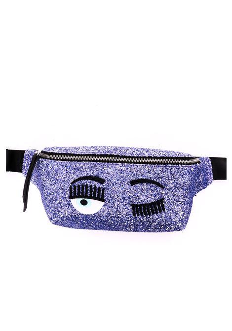 PURPLE GLITTER WAIST BAG WITH EMBROIDERY CHIARA FERRAGNI | Belt Bags | CFBB007VIOLA