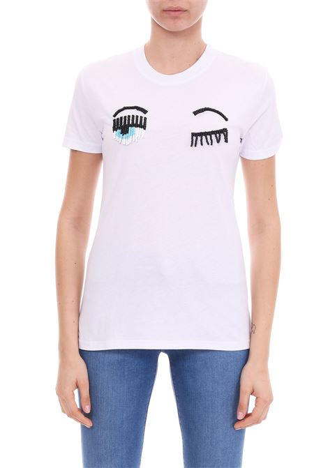 WHITE FLIRTING T-SHIRT WITH BEADS CHIARA FERRAGNI | T-shirt | CFT055BIANCO
