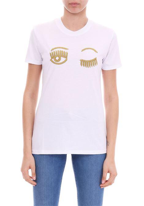 WHITE 'FLIRTING' T-SHIRT GOLD LOGO CHIARA FERRAGNI | T-shirt | CFT066BIANCO