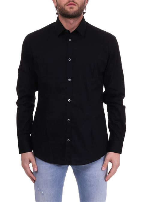 BLACK BASIC SHIRT IN COTTON POPLIN DANIELE ALESSANDRINI | Shirts | C1507B75139001