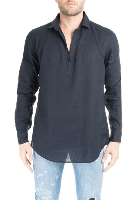 BLACK POLO SHIRT WITHOUT BUTTONS DANIELE ALESSANDRINI | Shirts | C1715B118439011