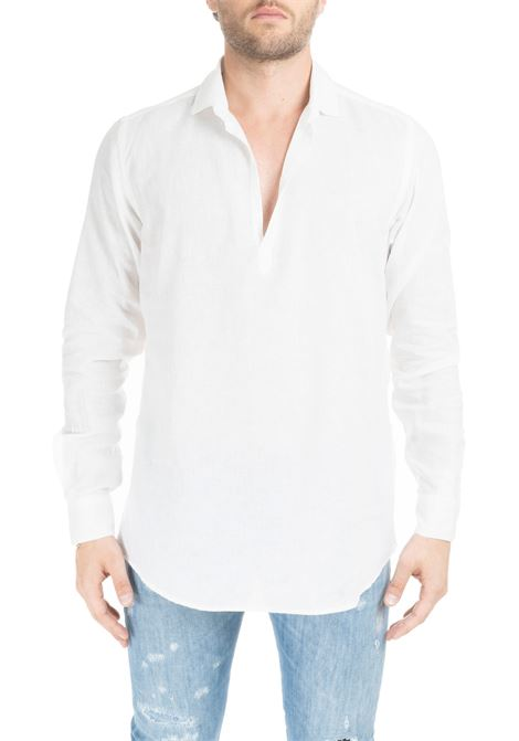 WHITE POLO SHIRT WITHOUT BUTTONS DANIELE ALESSANDRINI | Shirts | C1715B118439012