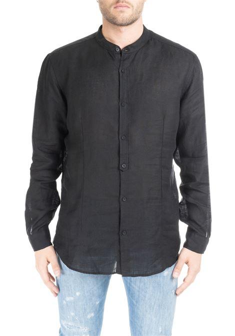 BLACK RIANDOLO SHIRT IN LINEN DANIELE ALESSANDRINI | Shirt | C6371R33939011