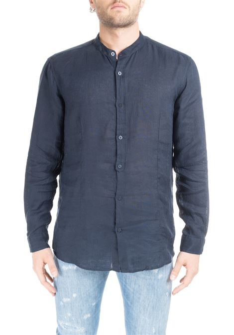NAVY RIANDOLO SHIRT IN LINEN DANIELE ALESSANDRINI | Shirts | C6371R339390123