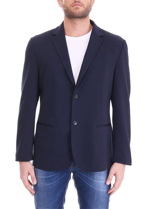 BLUE JACKET WITH BASIC LAPEL DANIELE ALESSANDRINI | Jackets | G2717N726390023