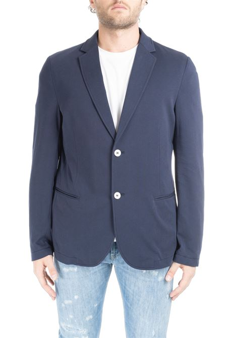 SINGLE-BREASTED JACKET IN BLUE COTTON DANIELE ALESSANDRINI | Jackets | G2931E6433902123