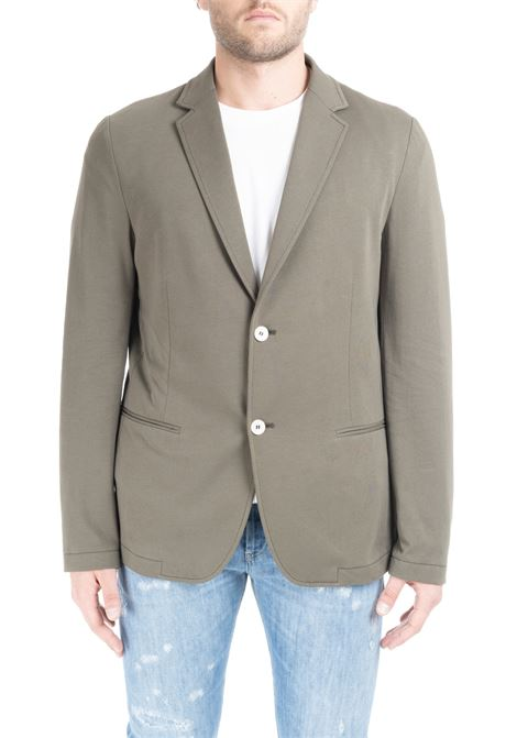 SINGLE-BREASTED JACKET IN GREEN COTTON DANIELE ALESSANDRINI | Jackets | G2931E6433902233