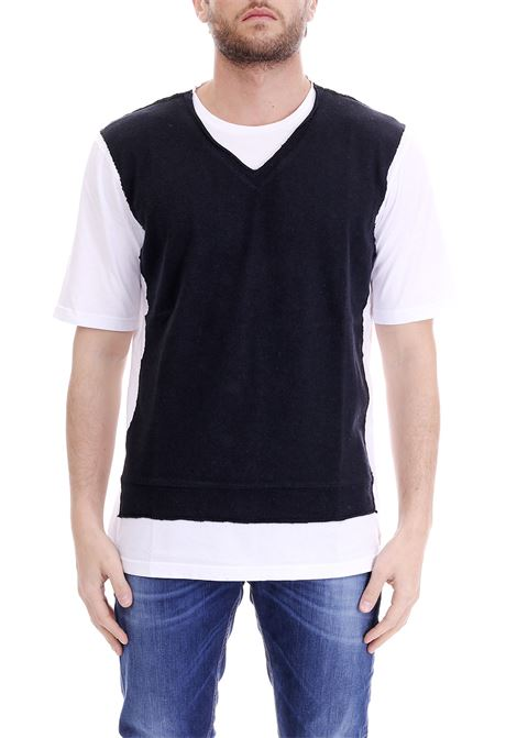COTTON T-SHIRT WITH GILET DANIELE ALESSANDRINI | Sweaters | M6837E64339002