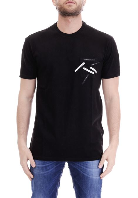 T-SHIRT NERA PATCH LOGO DANIELE ALESSANDRINI | T-shirt | M6924E64339011