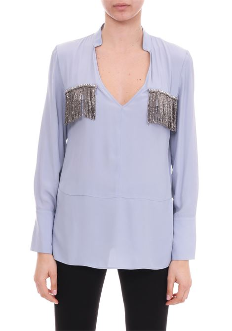 LIGHT BLUE SHIRT WITH BEADS FRINGES DONDUP | Shirts | DC046SF0050040PDDS19858