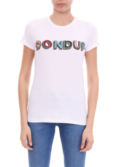WHITE T-SHIRT WITH SEQUINS AND STONE DONDUP | T-shirt | S007JS0212V45PDDS19000