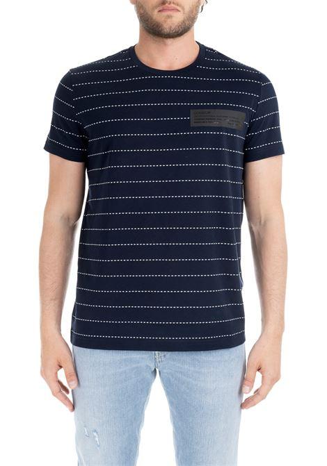 BLUE T-SHIRT WITH STRIPED LINES DONDUP | T-shirt | US281JS0211U002DU897