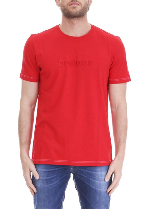 RED COTTON T-SHIRT LOGO RELIEF DONDUP | T-shirt | US286JF0236U23DUS19500