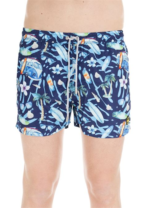 BLUE SWIM SHORTS WITH SUMMER PATTERN F**k | Swimsuits | FK19-0094FANTASIA BLU