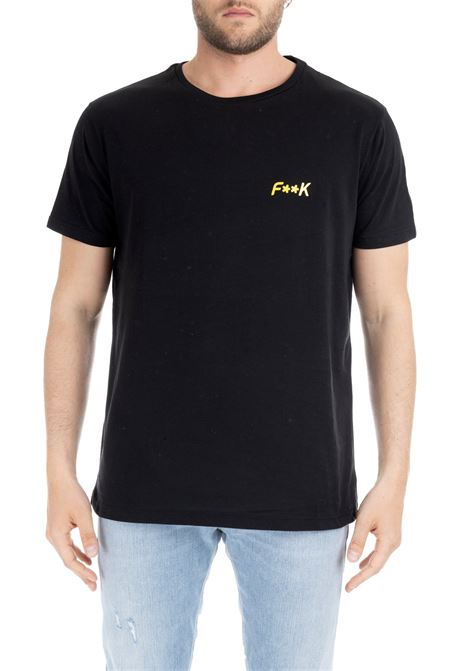 BLACK T-SHIRT WITH YELLOW LOGO F**k | T-shirt | FK19-1021NERO