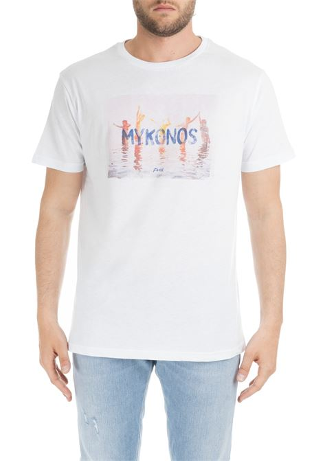 WHITE T-SHIRT WITH MYKONOS GRAPHIC F**k | T-shirt | FK19-1033BIANCO
