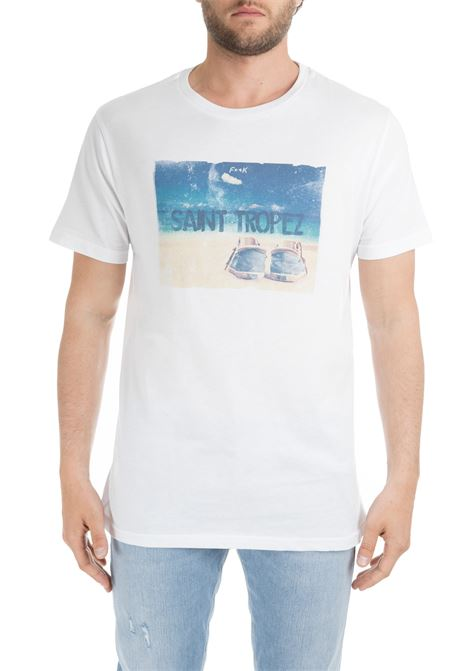 WHITE T-SHIRT WITH SAINT TROPEZ GRAPHIC F**k | T-shirt | FK191030UBIANCO