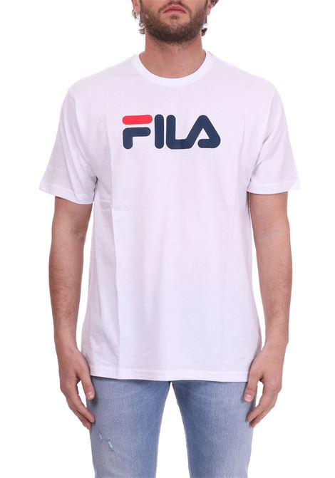 WHITE COTTON T-SHIRT WITH FRONT LETTERING LOGO FILA | T-shirt | 681093BIANCO