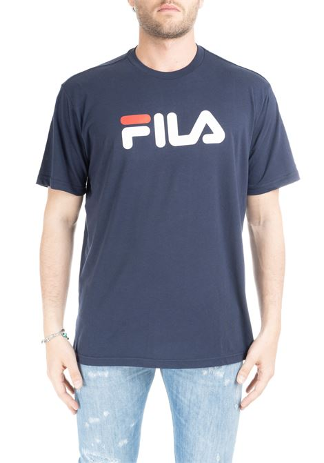 BLUE COTTON T-SHIRT WITH FRONT LETTERING LOGO FILA | T-shirt | 681093BLU
