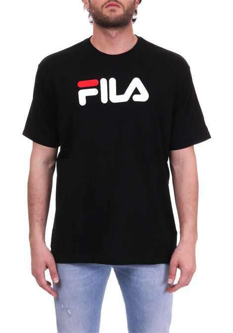 BLACK COTTON T-SHIRT WITH FRONT LETTERING LOGO FILA | T-shirt | 681093NERO
