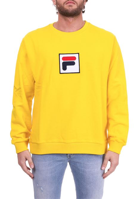 YELLOW COTTON SWEATSHIRT WITH FRONT LOGO PATCH FILA | Sweatshirts | 682298GIALLO