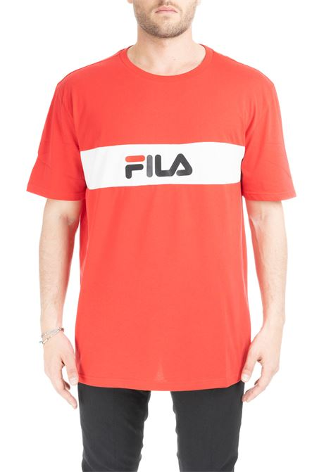 RED T-SHIRT WITH CONTRAST BAND AND LOGO FILA | T-shirt | 687034G12