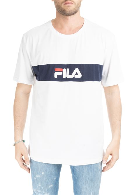 WHITE T-SHIRT WITH CONTRAST BAND AND LOGO FILA | T-shirt | 687034I98
