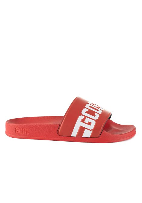 RED LOW RUBBER SANDALS WITH LOGO GCDS | Slide Sandals | CC94U01021603