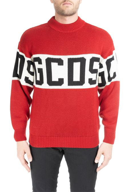 RED MESH WOOL SWEATER WITH GCDS LOGO INLAY GCDS | Sweaters | CC94U020050RED