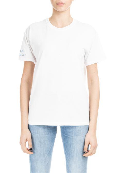 T-SHIRT CIAO AMORE - RICAMO MANICA BLU GIADA BENINCASA | T-shirt | P9902T13