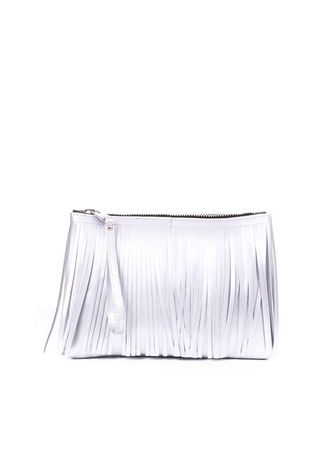 CLUTCH NUMBER MEDIA WITH FRINGES SILVER GUM | Clutches | BC4012/19PEFRSATINSILVER