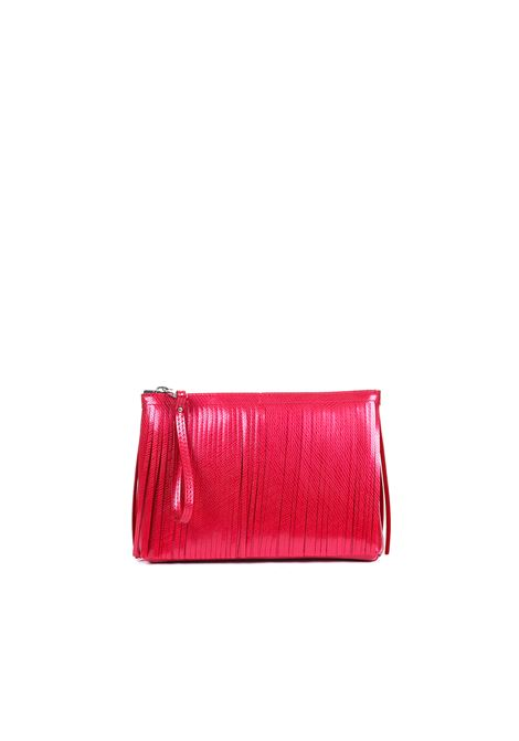 POCHETTE IN PVC WITH FRINGES GUM | Clutch | BC4052/19PEGUMLMROSSO