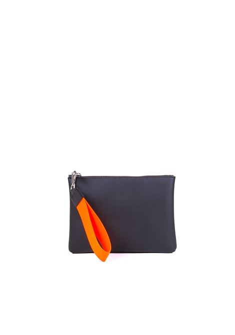 CLUTCH WITH FLUO ORANGE LACE GUM | Clutch | BC4052/19PEGUMSAFNERO/ARANCIO