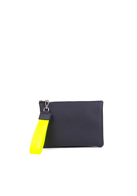 CLUTCH WITH FLUO YELLOW LACE GUM | Clutches | BC4052/19PEGUMSAFNERO/GIALLO